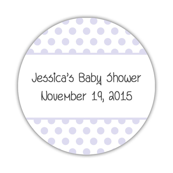 "Favor stickers 'Bold Polka Dots' - 1.5"" circle = 30 labels per sheet / Lavender - Dazzling Daisies"