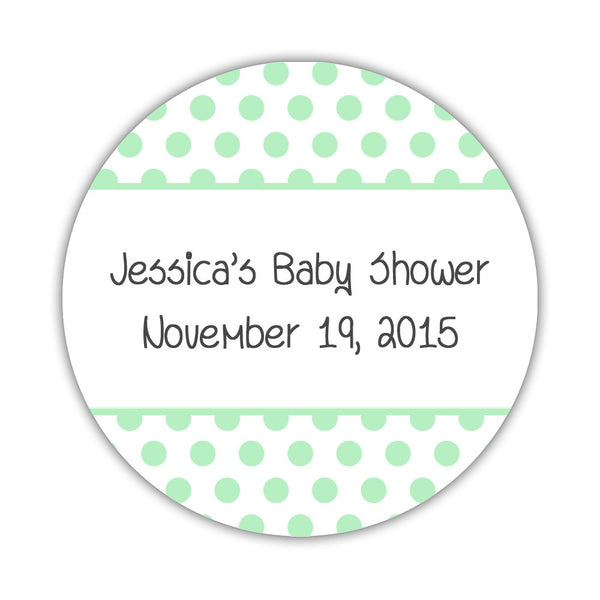 "Favor stickers 'Bold Polka Dots' - 1.5"" circle = 30 labels per sheet / Mint - Dazzling Daisies"
