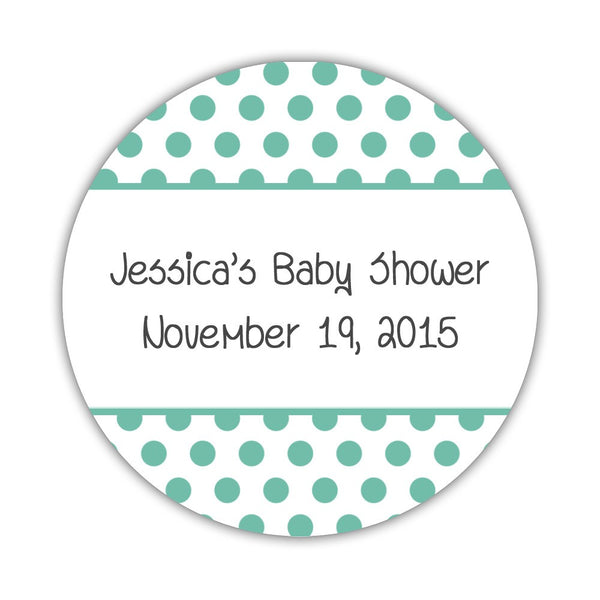 "Favor stickers 'Bold Polka Dots' - 1.5"" circle = 30 labels per sheet / Ocean - Dazzling Daisies"