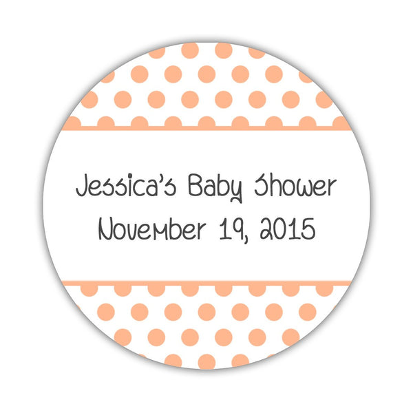 "Favor stickers 'Bold Polka Dots' - 1.5"" circle = 30 labels per sheet / Peach - Dazzling Daisies"