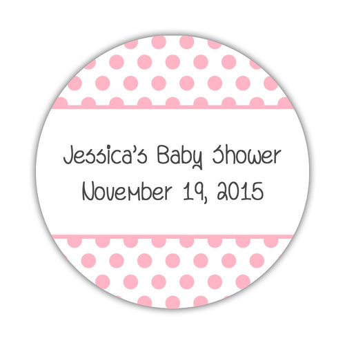 "Favor stickers 'Bold Polka Dots' - 1.5"" circle = 30 labels per sheet / Pink - Dazzling Daisies"
