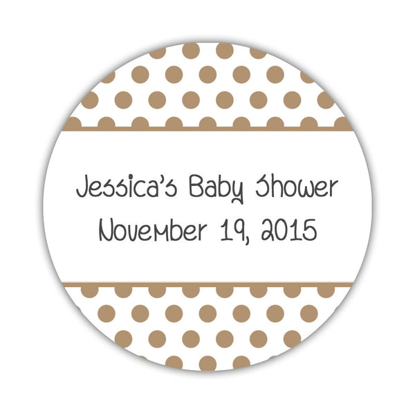 "Favor stickers 'Bold Polka Dots' - 1.5"" circle = 30 labels per sheet / Sand - Dazzling Daisies"
