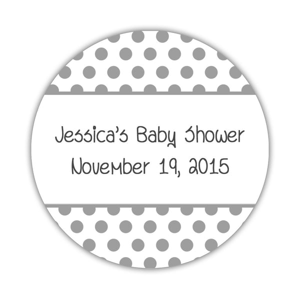 "Favor stickers 'Bold Polka Dots' - 1.5"" circle = 30 labels per sheet / Silver - Dazzling Daisies"
