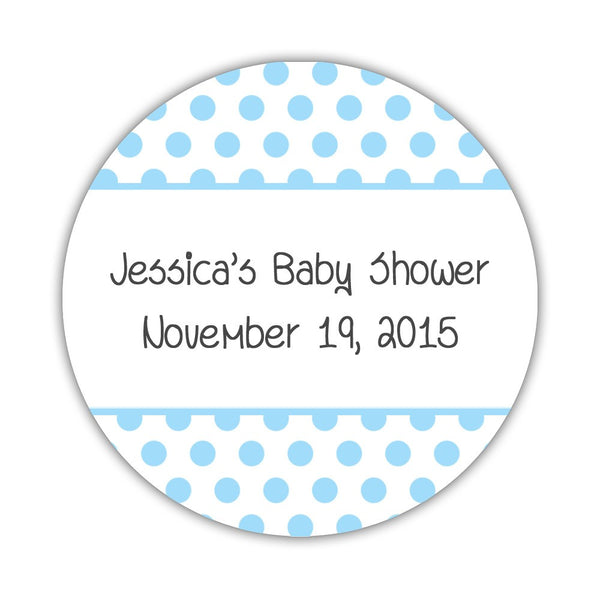 "Favor stickers 'Bold Polka Dots' - 1.5"" circle = 30 labels per sheet / Sky blue - Dazzling Daisies"