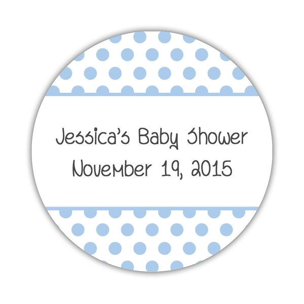 "Favor stickers 'Bold Polka Dots' - 1.5"" circle = 30 labels per sheet / Steel blue - Dazzling Daisies"