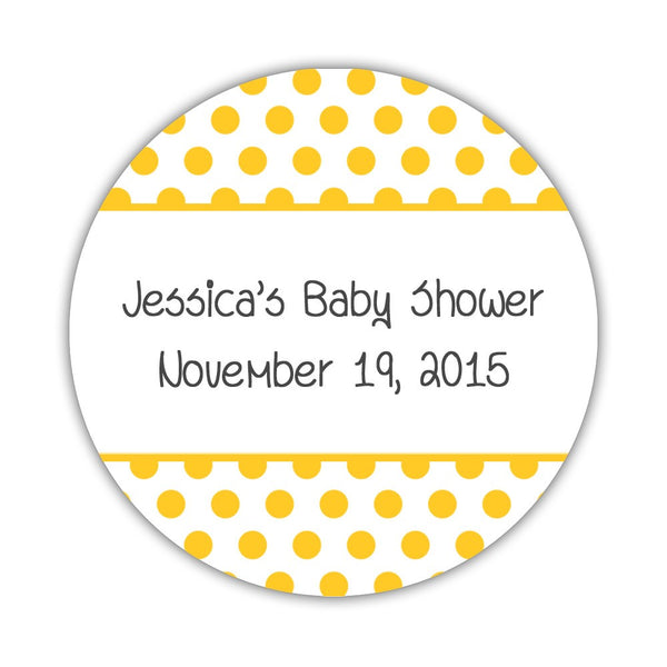 "Favor stickers 'Bold Polka Dots' - 1.5"" circle = 30 labels per sheet / Yellow - Dazzling Daisies"