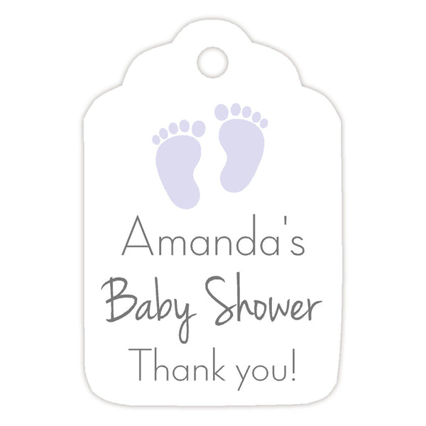 Baby shower tags 'Little Feet' - Lavender - Dazzling Daisies