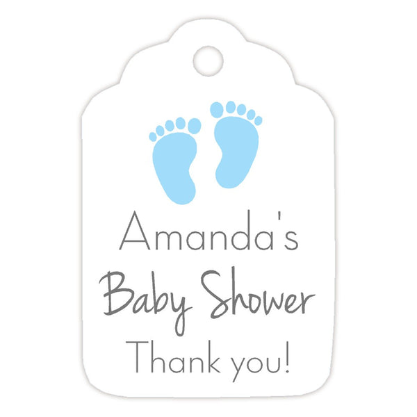 Baby shower tags 'Little Feet' - Sky blue - Dazzling Daisies