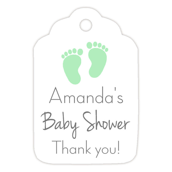 Baby shower tags 'Little Feet' - Mint - Dazzling Daisies