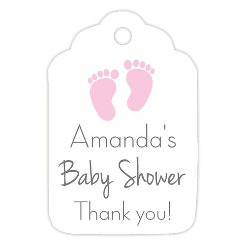 Baby shower tags 'Little Feet' - Pink - Dazzling Daisies