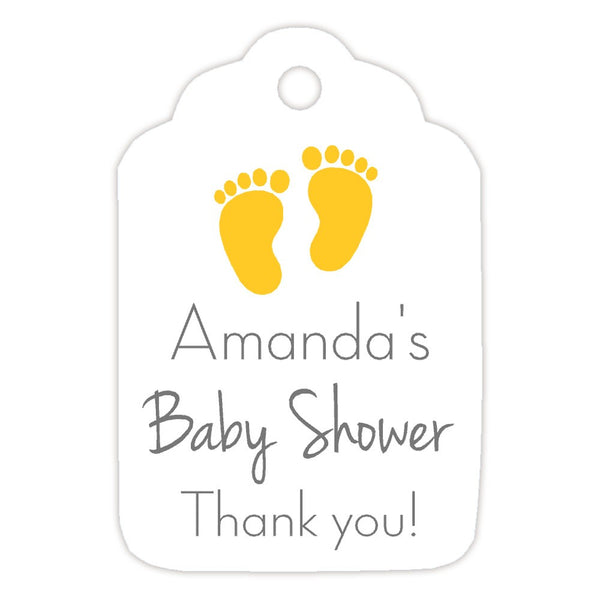 Baby shower tags 'Little Feet' - Yellow - Dazzling Daisies