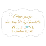 Baby shower thank you tags - Gold/Aquamarine - Dazzling Daisies