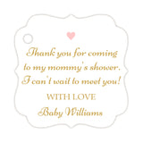 Thank you for coming to my mommy's shower tags - Gold/Blush - Dazzling Daisies
