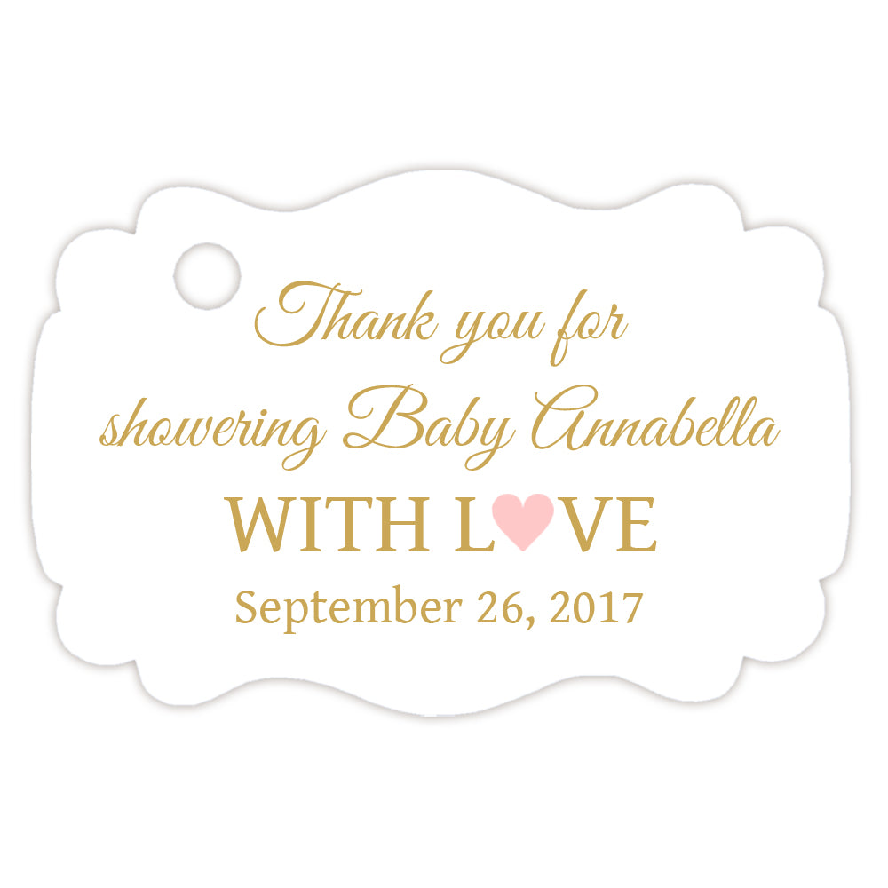 Baby Shower Thank You Tags   Gold   Dazzling Daisies