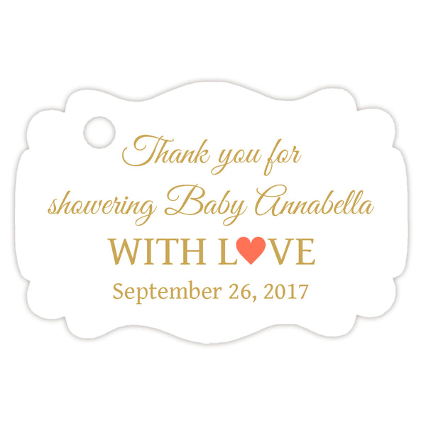 Baby shower thank you tags - Gold/Coral - Dazzling Daisies