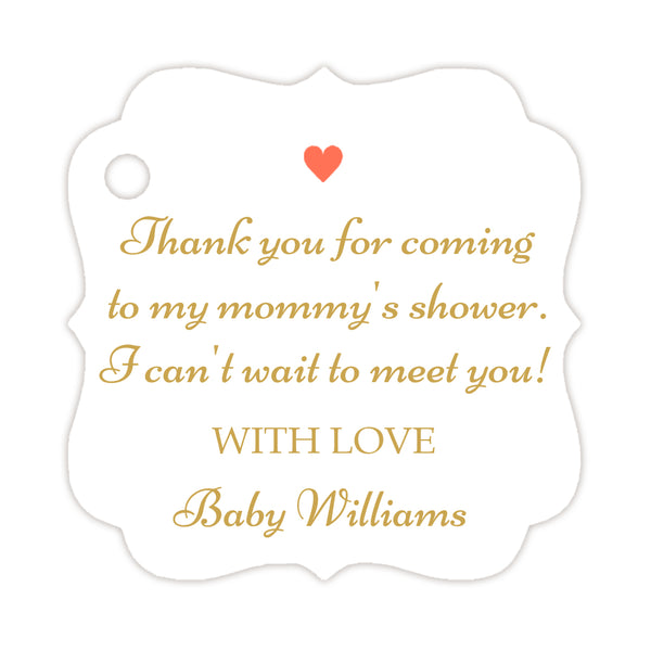Thank you for coming to my mommy's shower tags - Gold/Coral - Dazzling Daisies