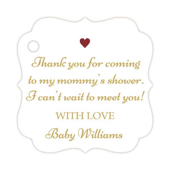 Thank you for coming to my mommy's shower tags - Gold/Maroon - Dazzling Daisies