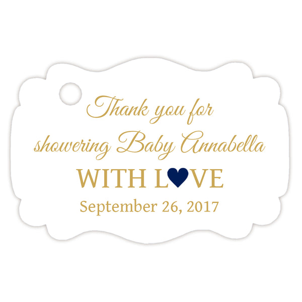 Baby shower thank you tags - Gold/Navy - Dazzling Daisies