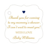 Thank you for coming to my mommy's shower tags - Gold/Navy - Dazzling Daisies