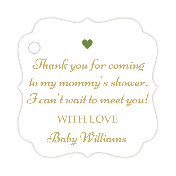 Thank you for coming to my mommy's shower tags - Gold/Olive - Dazzling Daisies
