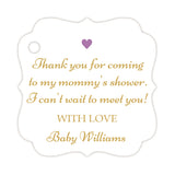 Thank you for coming to my mommy's shower tags - Gold/Plum - Dazzling Daisies