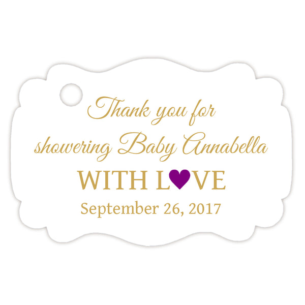 Baby shower thank you tags - Gold/Purple - Dazzling Daisies