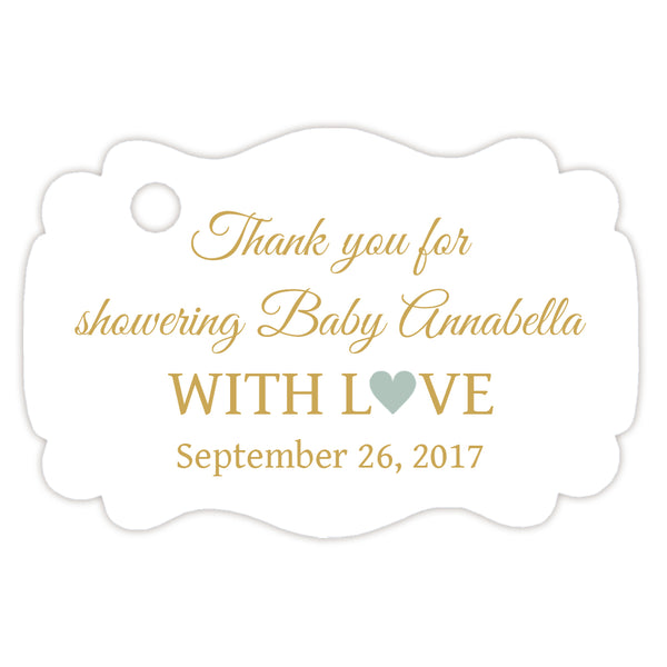 Baby shower thank you tags - Gold/Sage - Dazzling Daisies
