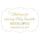 Baby shower thank you tags - Gold/Steel blue - Dazzling Daisies