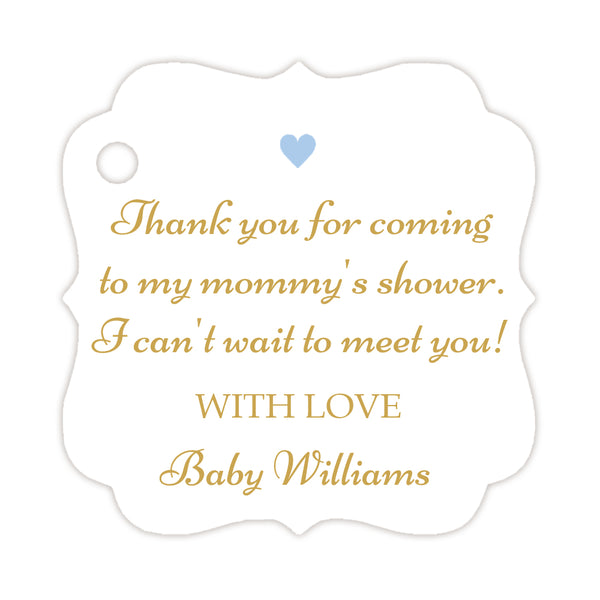Thank you for coming to my mommy's shower tags - Gold/Steel blue - Dazzling Daisies