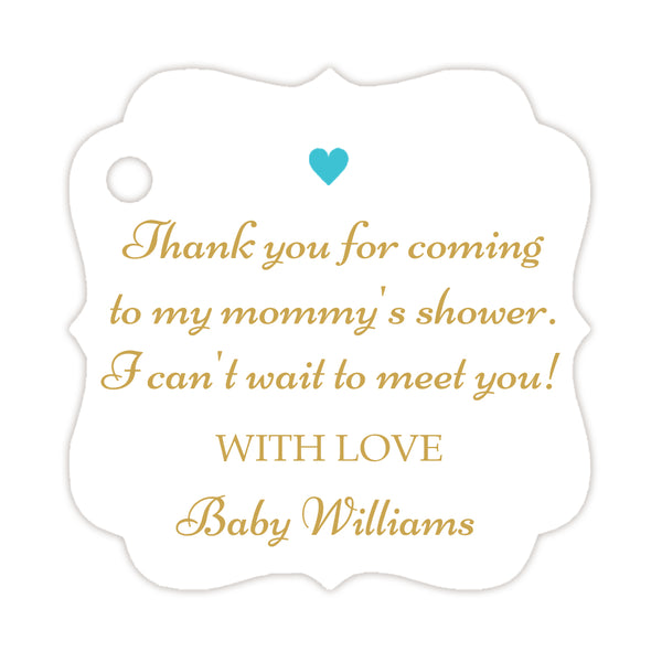 Thank you for coming to my mommy's shower tags - Gold/Turquoise - Dazzling Daisies