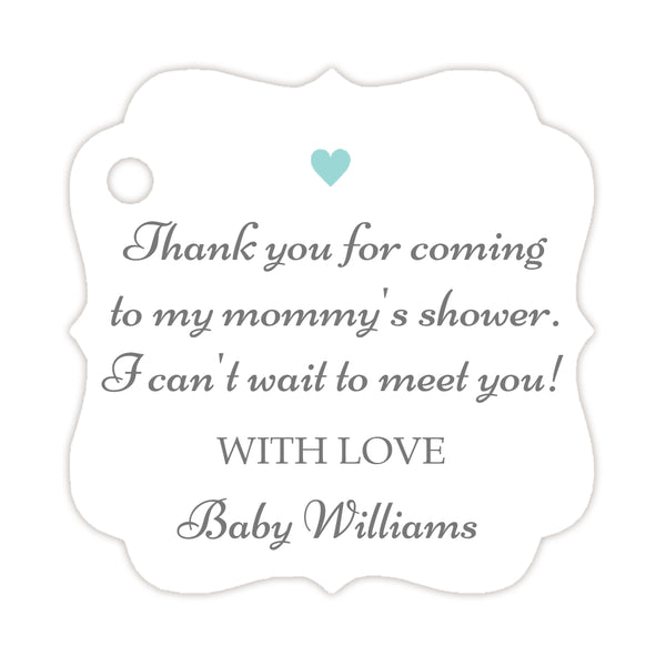 Thank you for coming to my mommy's shower tags - Gray/Aquamarine - Dazzling Daisies