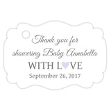 Baby shower thank you tags - Gray/Lavender - Dazzling Daisies