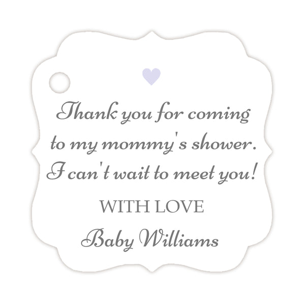 Thank you for coming to my mommy's shower tags - Gray/Lavender - Dazzling Daisies