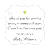 Thank you for coming to my mommy's shower tags - Gray/Lime - Dazzling Daisies