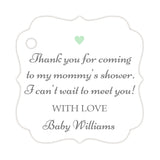 Thank you for coming to my mommy's shower tags - Gray/Mint - Dazzling Daisies