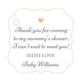 Thank you for coming to my mommy's shower tags - Gray/Peach - Dazzling Daisies