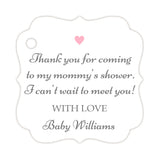 Thank you for coming to my mommy's shower tags - Gray/Pink - Dazzling Daisies