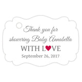 Baby shower thank you tags - Gray/Raspberry - Dazzling Daisies