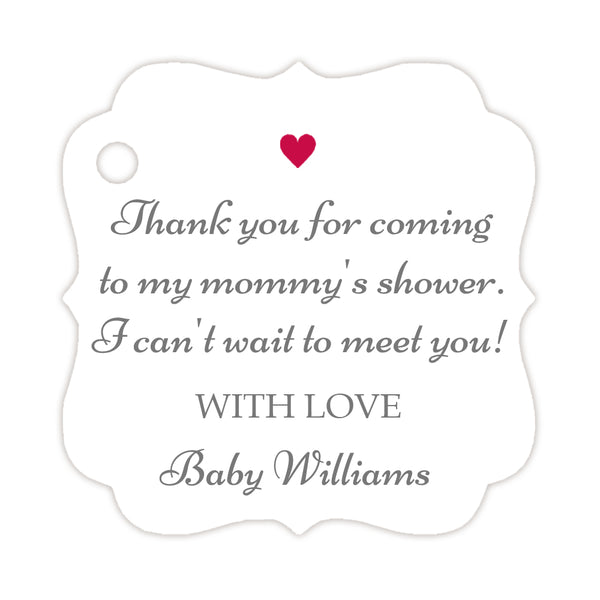 Thank you for coming to my mommy's shower tags - Gray/Raspberry - Dazzling Daisies