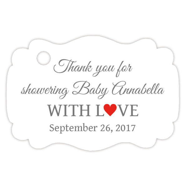 Baby shower thank you tags - Gray/Red - Dazzling Daisies