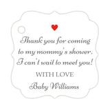 Thank you for coming to my mommy's shower tags - Gray/Red - Dazzling Daisies