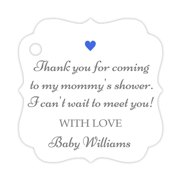Thank you for coming to my mommy's shower tags - Gray/Royal blue - Dazzling Daisies
