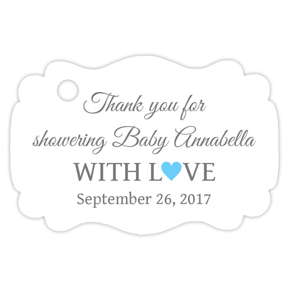 Baby shower thank you tags - Gray/Sky blue - Dazzling Daisies