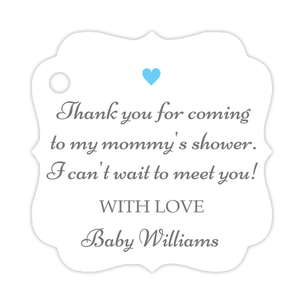 Thank you for coming to my mommy's shower tags - Gray/Sky blue - Dazzling Daisies