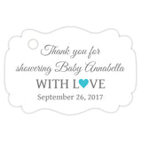 Baby shower thank you tags - Gray/Turquoise - Dazzling Daisies