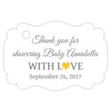 Baby shower thank you tags - Gray/Yellow - Dazzling Daisies
