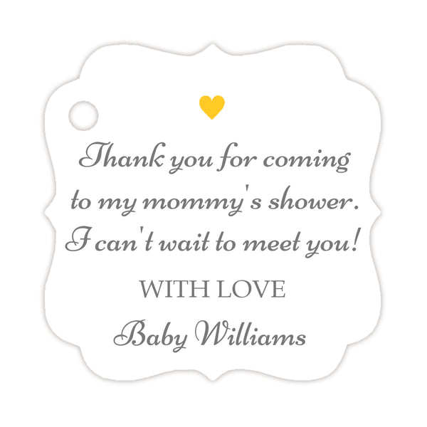 Thank you for coming to my mommy's shower tags - Gray/Yellow - Dazzling Daisies
