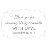 Baby shower thank you tags - Gray/Pink - Dazzling Daisies