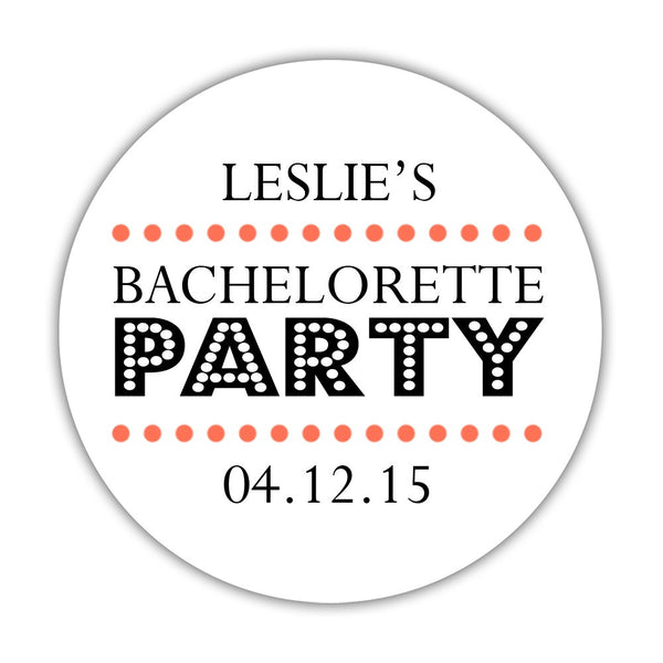"Bachelorette party stickers 'Sassy Stipple' - 1.5"" circle = 30 labels per sheet / Coral - Dazzling Daisies"