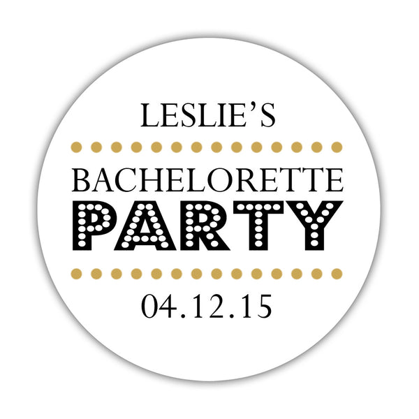 "Bachelorette party stickers 'Sassy Stipple' - 1.5"" circle = 30 labels per sheet / Gold - Dazzling Daisies"